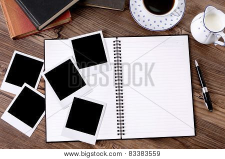 Photo Album With Coffee And Books