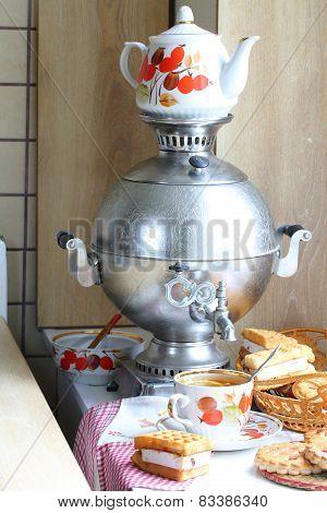 Tea With Cakes, Cookies And A Samovar