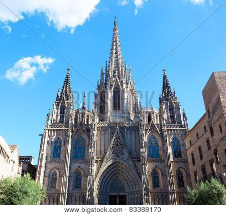 Gothic Catholic Cathedral Facade Steeples Barcelona Catalonia Spain. Built In 1298. This Is The Main