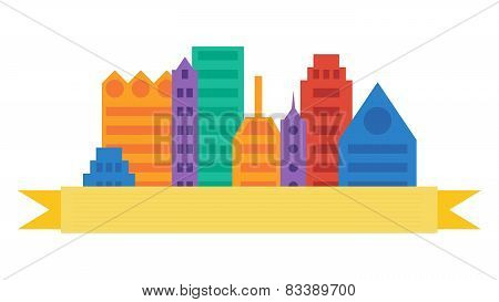 City Scene Cityscape In Flat Colors