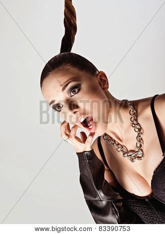 Studio Fashion Shot: Portrait Of Screaming Cute Young Woman