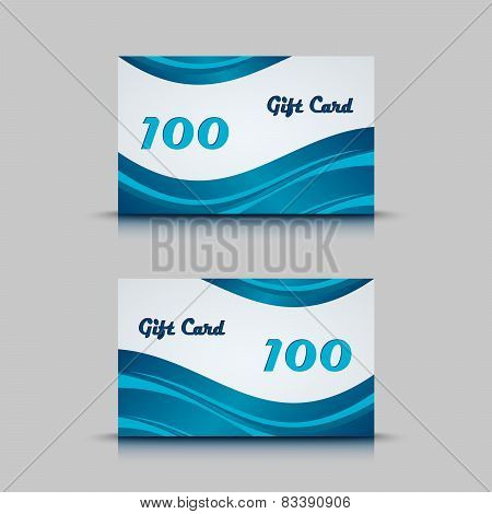 Gift Card With Blue Abstract Background