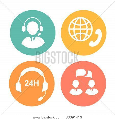 vector call center icons of operator and headset