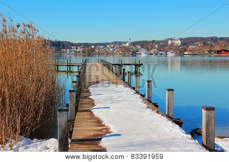 Wintry Boardwalk At Starnberg Lake, Bavaria