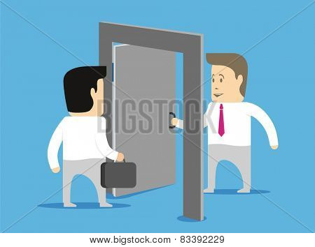 Businessman character opens the door to other businessmen and meets him