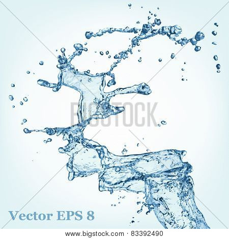 Blue water splash, vector illustration EPS 8.