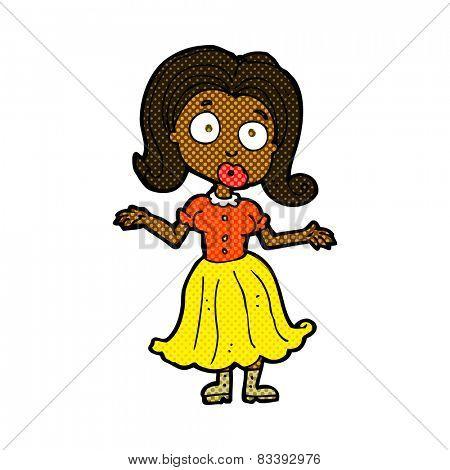retro comic book style cartoon confused girl