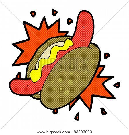 retro comic book style cartoon hotdog