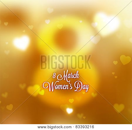 International Women's Day, 8 March. Smooth Background, Blurred Digit 8 and Label for Holiday Design.