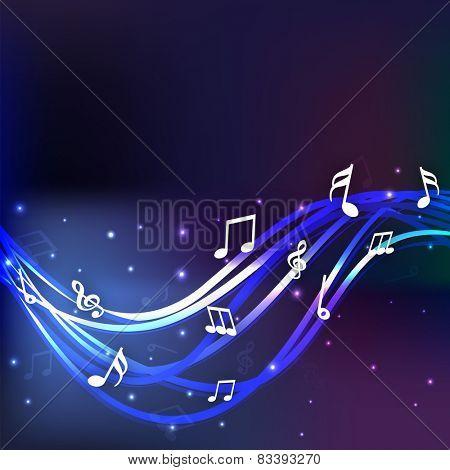 Shiny musical notes on blue waves background