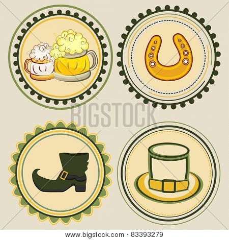 Vintage sticky designs with St. Patrick's Day objects.