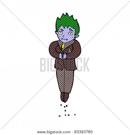 retro comic book style cartoon floating vampire