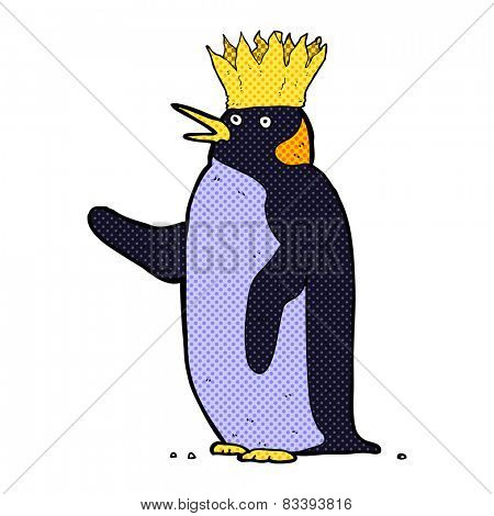 retro comic book style cartoon emperor penguin waving