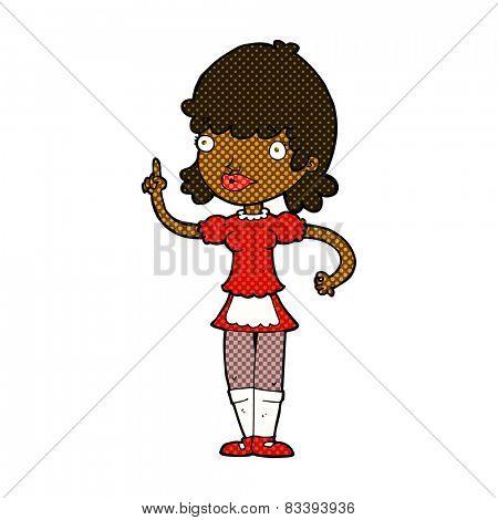 retro comic book style cartoon maid