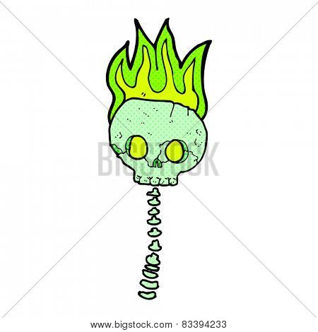 retro comic book style cartoon spooky skull and spine