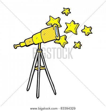 retro comic book style cartoon telescope