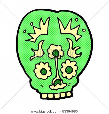 retro comic book style cartoon sugar skull