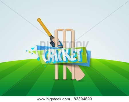 Cricket bat with tickets and ribbon on ground, Cricket 2015 Sports Concept.