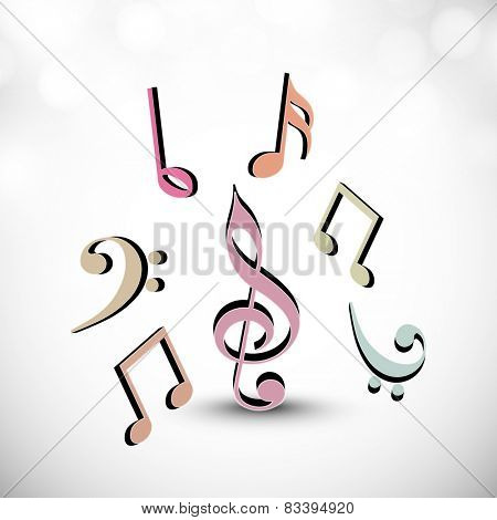 Musical symbols on shiny grey background.