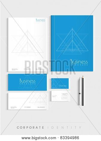 Professional corporate identity kit for your business includes Letterhead, Brochure, Envelopes, Visiting Cards and stationary.