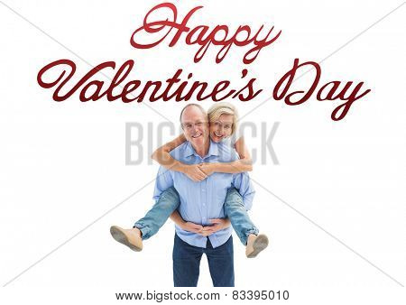 Mature man carrying his partner on his back against cute valentines message