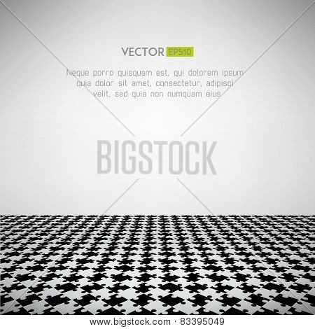 Puzzle surface scene. Abstract floor mosaic design. Vector illustration