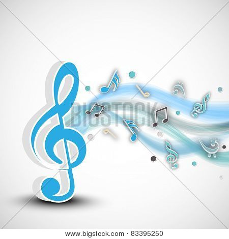 Blue musical notes with waves on shiny grey background.