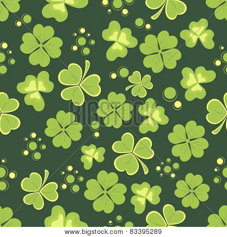 Pattern with shiny shamrock leaves for St. Patrick's Day celebrations.