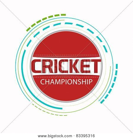 Sticker, badge or label with red ball for Cricket Championship concept.