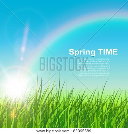 Spring natural background, sunny vector illustration.