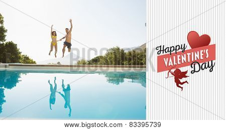 Cheerful couple jumping into swimming pool against happy valentines day