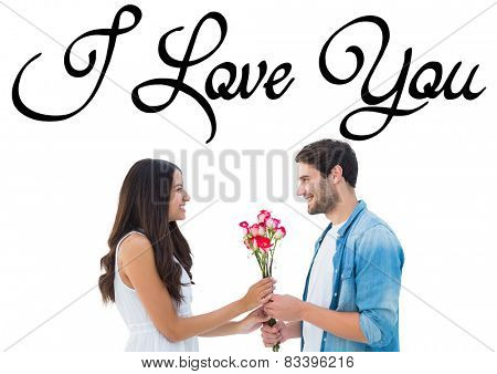 Happy hipster giving his girlfriend roses against i love you