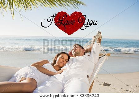 Calm couple napping in a hammock against i love you