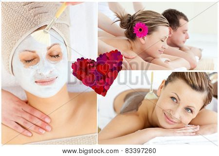 Collage of an attractive couple having relaxation treatments against heart