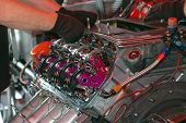picture of dragster  - Complex race engine detail - JPG