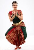 foto of bharatanatyam  - indian female performing dance with religious dress - JPG