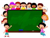 stock photo of cartoon people  - Vector illustration of Crowd children cartoon with chalkboard - JPG