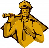 stock photo of torches  - Illustration of a policeman police officer holding a flashlight torch pointing facing front set inside diamond shape done in retro style - JPG