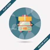 stock photo of caravan  - Caravan Car Flat Icon With Long Shadow - JPG