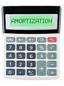 foto of amortization  - Calculator with AMORTIZATION on display isolated on white background - JPG