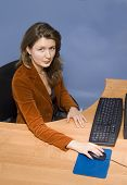 picture of clevage  - Young girl sitting infront of a computer in an office environment - JPG