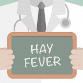 foto of hay fever  - minimalistic illustration of a doctor holding a blackboard with Hay Fever text - JPG