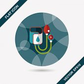 image of sphygmomanometer  - Sphygmomanometer Flat Icon With Long Shadow - JPG