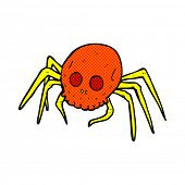 picture of spooky  - retro comic book style cartoon spooky skull spider - JPG
