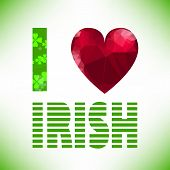 pic of red clover  - I love irish lettering with polygonal red glass heart - JPG