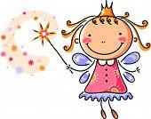 image of fairies  - Little cartoon fairy with magic stick - JPG