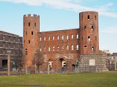 stock photo of turin  - Palatine towers Porte Palatine ruins of ancient roman town gates and wall in Turin - JPG