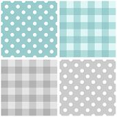 foto of dots  - Tile vector baby blue and grey pattern set with polka dots and checkered plaid for seamless decoration wallpaper - JPG
