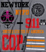 picture of nypd  - Skull New York Fun Man T shirt Graphic Design - JPG