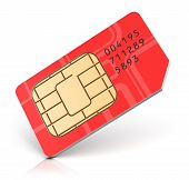 picture of micro-sim  - Red SIM card for mobile phone or smartphone isolated on white background - JPG